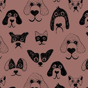 Little pups and dogs friends pet lovers design brown mauve