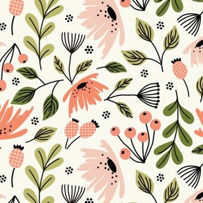 Ditsy modern floral- pink and green on cream - medium scale