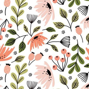 Ditsy modern floral-pink and green on white - medium scale