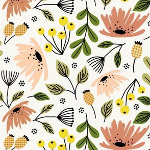 Ditsy modern floral- rose and yellow - medium scale