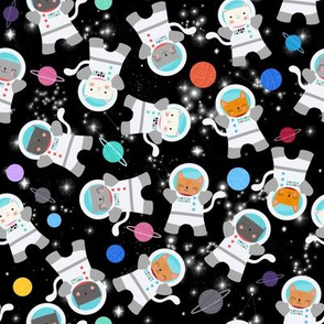 Small - Astronaut Kitty Cats In Space Yarn Planets
