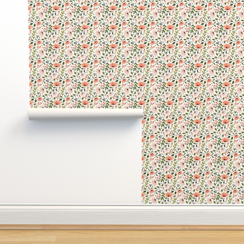 Isobar Durable Wallpaper featuring Ditsy modern Floral - small scale  by kaileyhawthorn