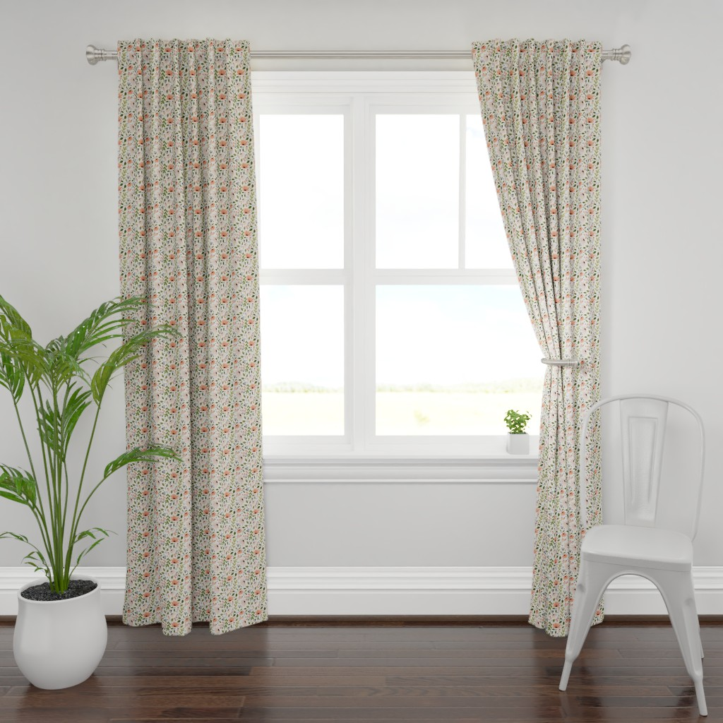 Plymouth Curtain Panel featuring Ditsy modern Floral - small scale  by kaileyhawthorn