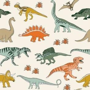 dinoworld dinosaur fabric - tyrannosaurus rex fabric, triceratops fabric, dinosaurs fabric, boy fabric, baby boy fabric -  cream