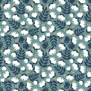 Spring Florals - White Flowers on Sage Green