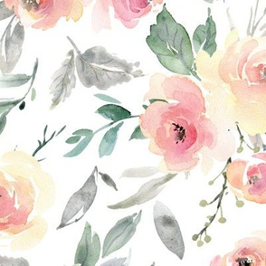 Watercolor Floral – Pink + Blush Flowers - LARGER scale