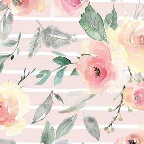 Watercolor Floral Stripe – Pink + Blush Flowers