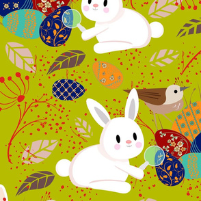 Detective Easter Bunnies at Work- Finding Easter Eggs- Large Scale