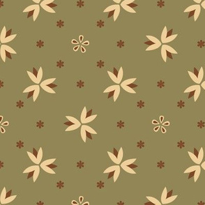 Basic geometric flower | olive
