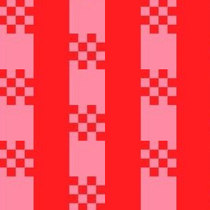 JP37 - Checked Stripe Hybrid  in Scarlet Red and Pink Coral