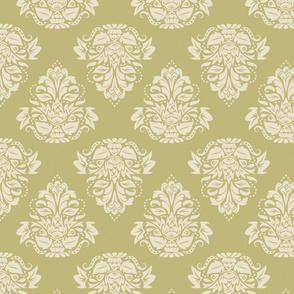 symetric damask   cream olive