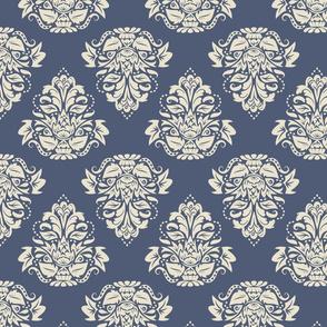 symetric damask   cream blue