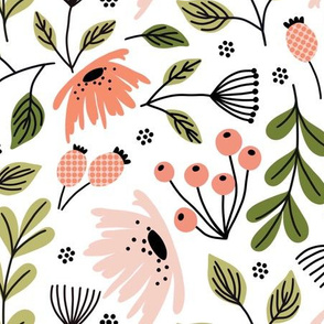 Ditsy modern floral - pink and green on white - large