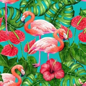 Flamingo birds and tropical garden watercolor
