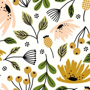 Ditsy modern floral- peach and ochre - large