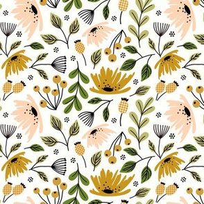 Ditsy modern floral - peach and ochre - small scale