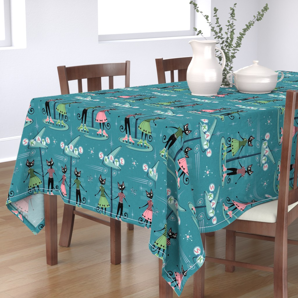 Bantam Rectangular Tablecloth featuring Skate Date ©️studioxtine  by studioxtine