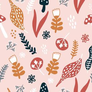 Light Pink Forest Botanical Pattern