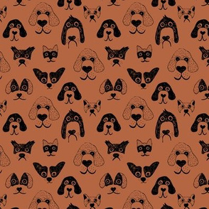 Little pups and dogs friends pet lovers design rust black SMALL