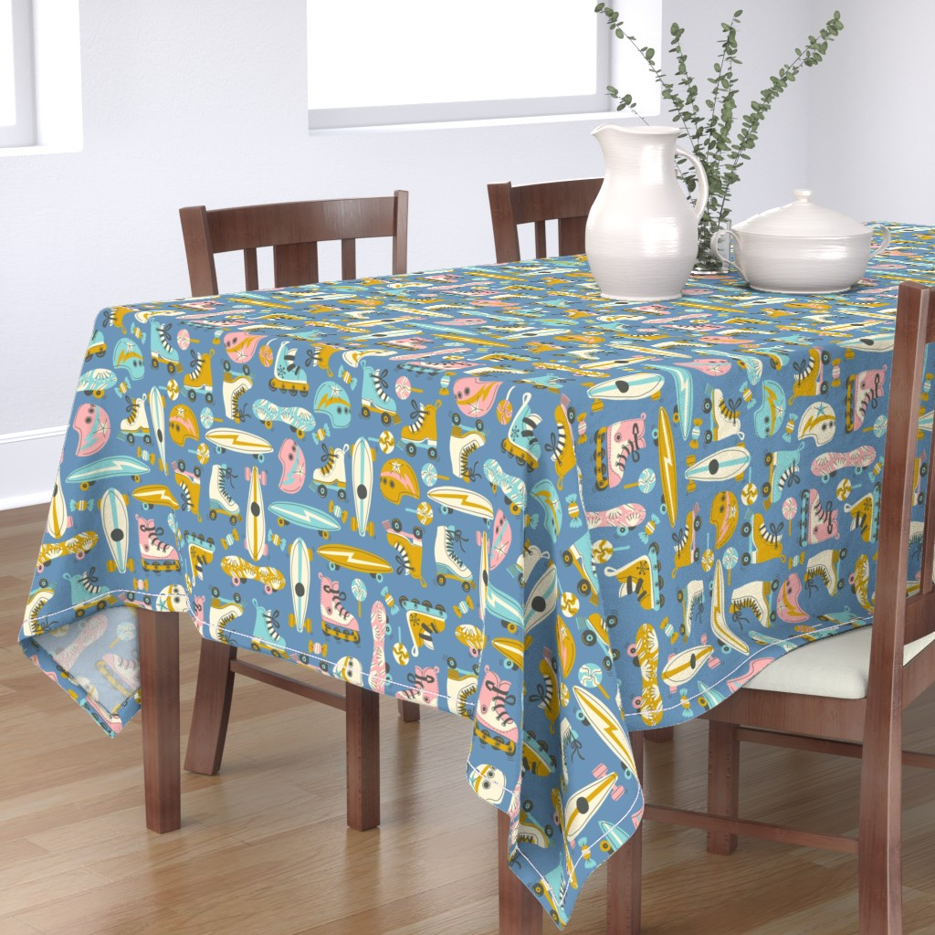 Bantam Rectangular Tablecloth featuring Hot Wheels and Candy - Royal Blue by rebelform