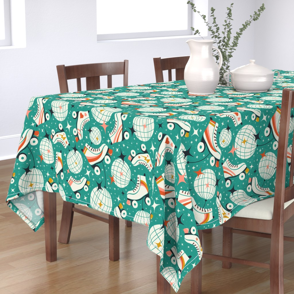 Bantam Rectangular Tablecloth featuring Roller Disco - Aqua Large Scale by heatherdutton