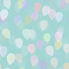 Floating Balloons - Teal Pastel Neutral