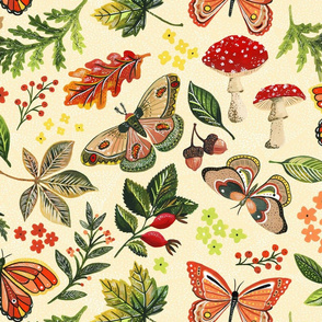 Animalier Forest Butterflies on Cream by Angel Gerardo - Large Scale