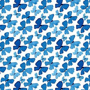 blue watercolor batterflies