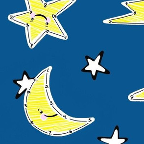 Number to Number Star to Star Up in the Sky is Where They Are - Yellow Blue White