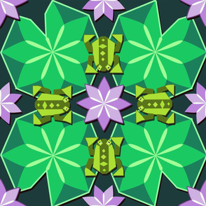 Geometric Water Lily Frogs