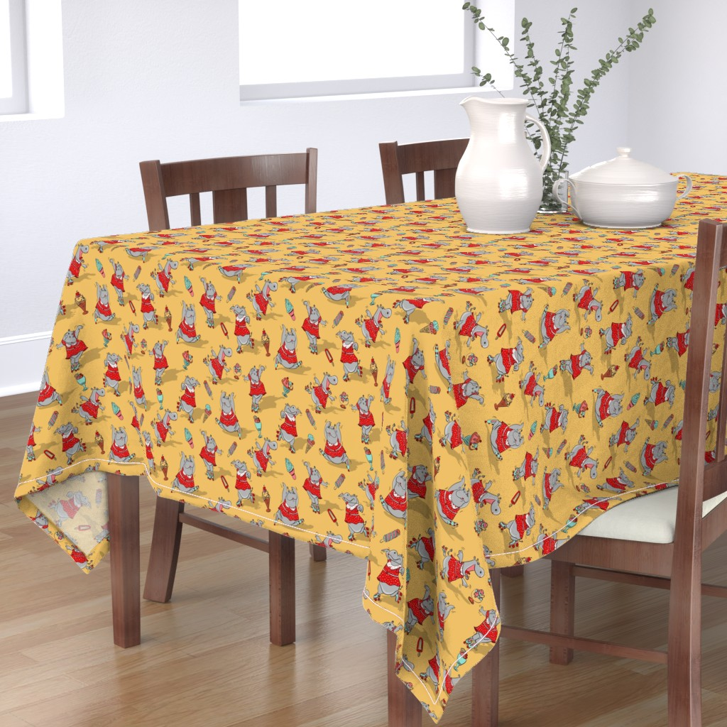 Bantam Rectangular Tablecloth featuring Hippo's vintage drive-in - XL by pakanta_handmade