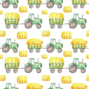 Watercolor Green Tractor Hay Bales Farm - Small