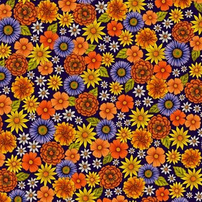 Small-Scale Ditsy Spring Flowers in Orange, Yellow & Purple