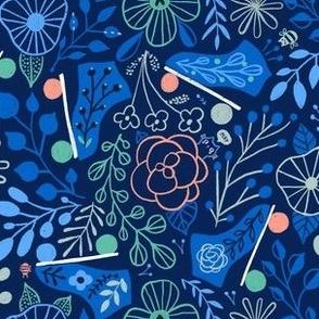 Don't be a hater - be a roller skater. Roller rink and flowers. Blue summer floral design.