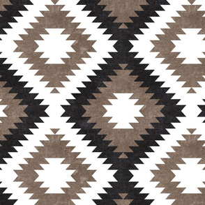 aztec neutrals - inkwell & taupe on white  - home decor - LAD19