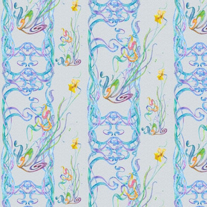 Watercolor Scrolls with Daffodils on Ice Blue