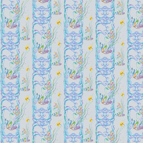 Small Watercolor Scrolls with Daffodils on Ice Blue