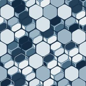 Indigo layered hexagons, vertical medium scale