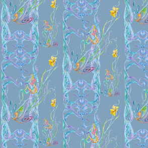 Watercolor Scrolls with Daffodils on Soft Blue