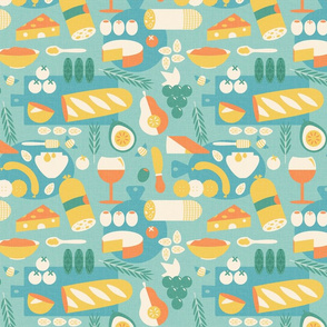 Retro Meat and Cheese Platter Blue Yellow