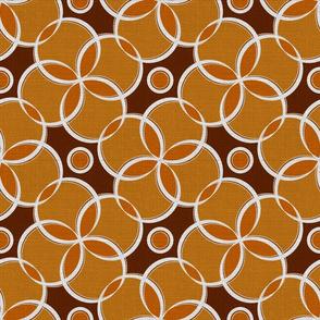 Silver Foil Retro Roller Rink Carpet Orange Bubble Tile