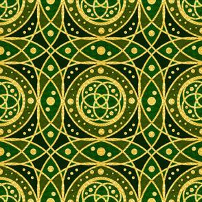 Gold Foil Celtic Rings Interlocking Irish Dotted Tile