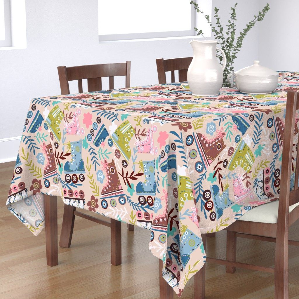 Bantam Rectangular Tablecloth featuring Retro Rollers by talanaart