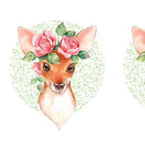 Fawn with pink roses. Fat quarter