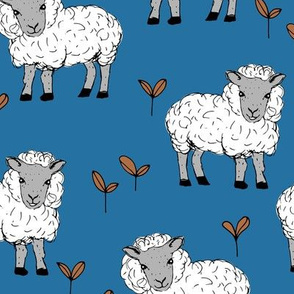 Little sheep in the fields farm animals sweet dreams good night navy gray rust white