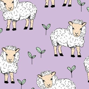 Little sheep in the fields farm animals sweet dreams good night lavender lilac mint