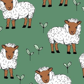 Little sheep in the fields farm animals sweet dreams good night sage green rust neutral