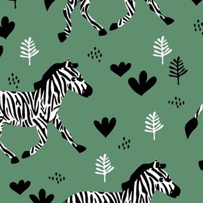 Zebra magic forest Scandinavian style kids animal design sage green
