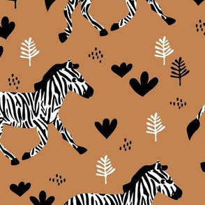 Zebra magic forest Scandinavian style kids animal design caramel brown neutral