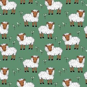 Little sheep in the fields farm animals sweet dreams good night green rust neutral winter SMALL